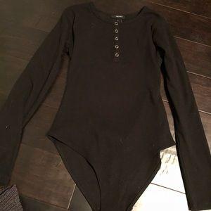 black button up bodysuit